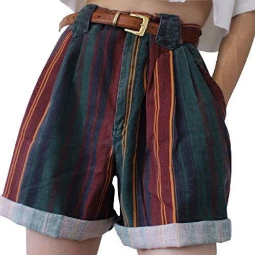 Pantalones Cortos para Mujer Tendencia de Verano Europea y Americana Pantalones Cortos a Rayas de Moda Pantalones Cortos Sueltos de Pierna Ancha XXL