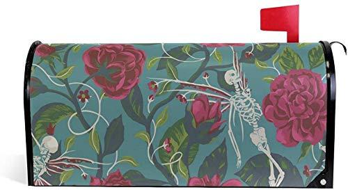 Rote Rosen Skelett Totenkopf Tanz Magnet Briefkasten-Abdeckung Haus Garten Dekoration