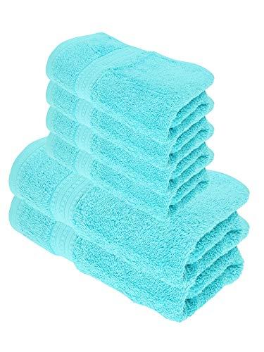 Julie Julsen Juego de toallas de ducha (6 piezas, 2 toallas de ducha, 4 toallas de mano, 100% algodón, 550 g/m²), color turquesa