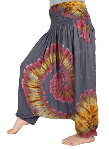 GURU SHOP Batik Afghani Hose, Haremshose, Pluderhose, Aladinhose, Batikhose, Damen, Taubengrau, Synthetisch, Size:38, Pluderhosen & Aladinhosen Alternative Bekleidung