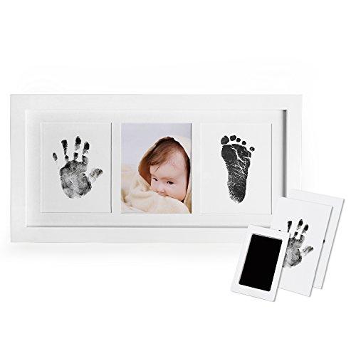 """Norjews Baby Handabdruck und Fußabdruck Fotoalbum mit Zwei\""""CleanTouch\"""" Stempelkissen und Vier Druckkarten - Babyhaut kommt nicht mit Farbe in Berührung, Das ideale Babyparty Geschenk"""