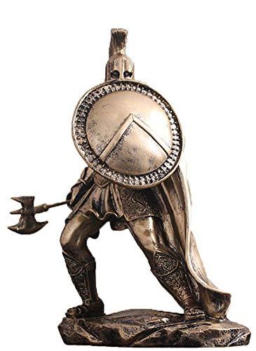 NMBC Retro Héroe Estatuilla Decoración Acabado Bronce Estatua Guerrero Griego de Esparta Arte Ornamentos con Lanza y Escudo Manualidades- A