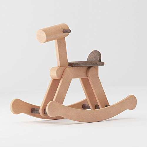 Kibten Baby Rocking Horse Outdoor Indoor Wooden Rocker Rocking Animal Pony Solid Wood Toddler Children Traditional Toy Christmas Birthday Gift for Boys Girls Child 12 Months and Up (Color : B)