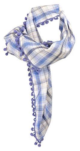 pañuelo en azul beige lila gris cuadros con pompones - tamaño 100 x