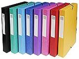 Exacompta 50400E 8er Pack Premium Sammelboxen Aufgebaut mit Gummizug 40 mm breit aus extra starkem Colorspan-Karton mit Rückenschild für DIN A4 Archivbox Heftbox Dokumentenbox farbig sortiert