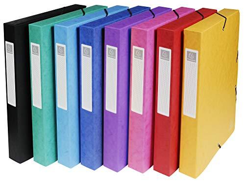 Exacompta - Réf. 50400E - Carton de 8 boites de classement Exabox en carte lustrée avec élastique 25x33 cm dos de 40 mm- Couleurs assorties, bleu, jaune, noire, rose, rouge, turquoise, verte, violette