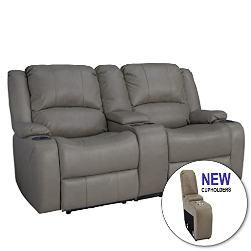 RecPro Charles Collection | 67' Double Recliner RV Sofa & Console | RV Zero Wall Loveseat | Wall Hugger Recliner | RV Theater Seating | RV Furniture | RV Sofa | RV Sofa Bed | RV Couch | Putty