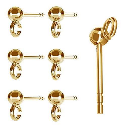 DIY925 3 pares de pendientes de bola de plata de ley 925, chapados en oro de 24 quilates, joyas en bruto, para fabricación de joyas
