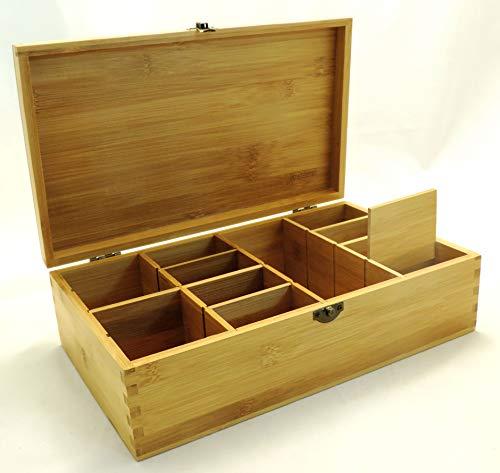 Multikeep Adjustable Tea Box 128 Tea Bag Storage Organizer Bamboo Latching Lid (Blank Lid)
