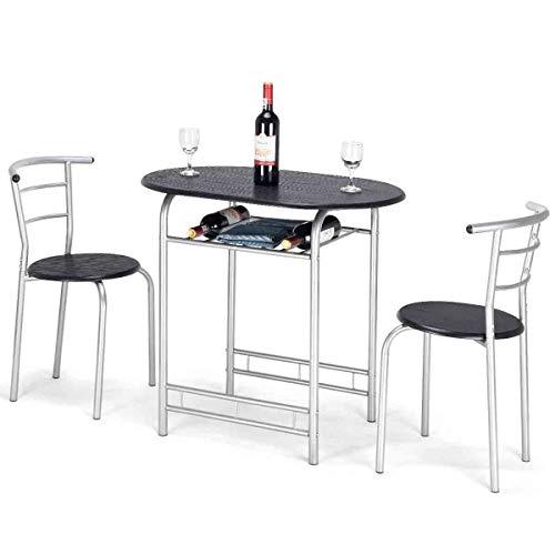 RELAX4LIFE 3 TLG. Sitzgruppe, Esszimmergruppe mit Tisch und 2 Stühlen mit Rückenlehne, Küchentisch mit Ablage, Esstisch Set für Balkon & Esszimmer & Wohnzimmer, Essgruppe aus Eisen und MDF (Schwarz)