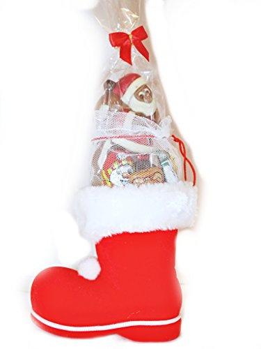 Gefüllter Nikolausstiefel 11,5 cm Rot mit Bommeln und Weißen Plüsch der Schnelle Nikolaus Gruß