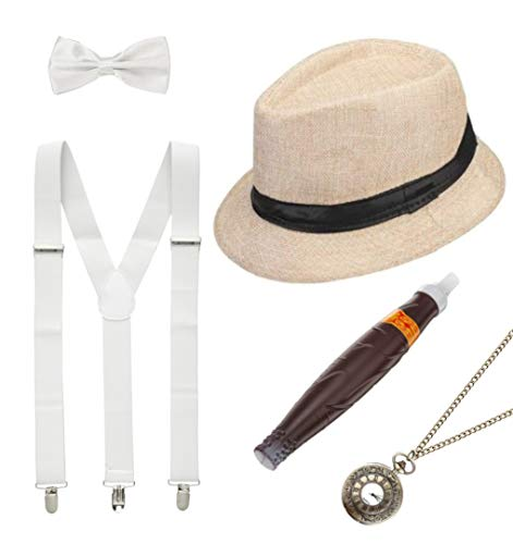 shoperama Juego de 20 relojes para hombre, sombrero de paja con tirantes y pajarita, reloj puro.
