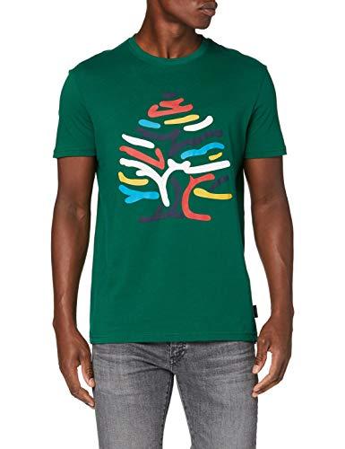 Springfield Arbol Multicolor-c/22 Camiseta, Verde (Green 22), L (Tamaño del Fabricante: L) para Hombre