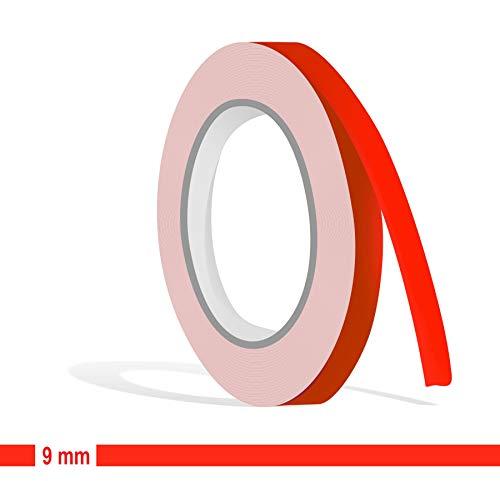 Siviwonder Zierstreifen neon rot Leuchtend Glanz in 9 mm Breite und 10 m Länge Aufkleber Folie für Auto Boot Jetski Modellbau Klebeband Dekorstreifen - fluoreszierend grell rot