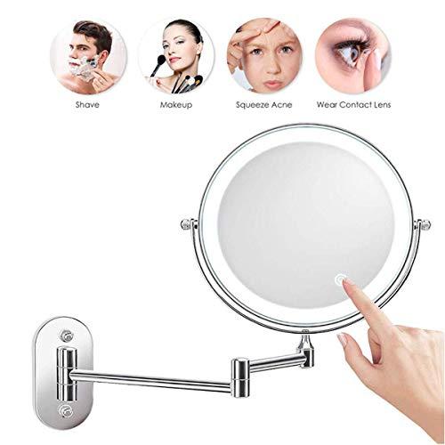 XIGG Miroir De Maquillage Mural Grossissant, Miroir Grossissant Lumineux Mural x7 Miroir Salle De Bain 8 Pouces Double Face LED 360 Degrés Rotation Pliable 4 Piles AAA Requises (Non Fournies),5X