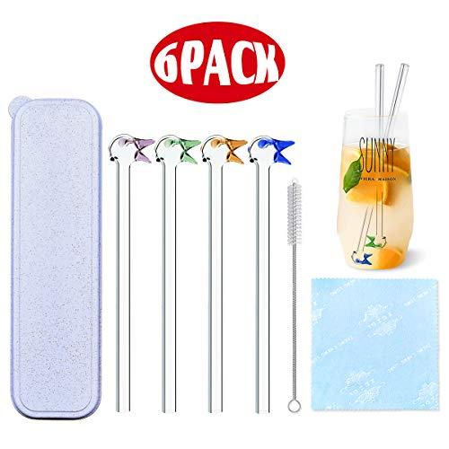 Doben Glazen rietjes, herbruikbaar, transparant, met reinigingsborstels, geschikt voor cocktail, glas, smoothie, milkshake, gezond, milieuvriendelijk, vrij van BPA