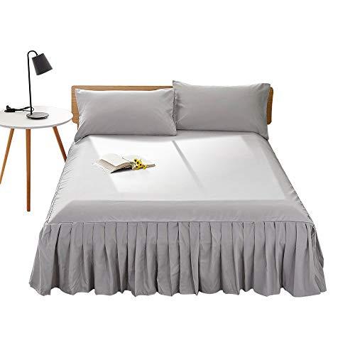 DAOMOベッドスカートベッドカバー高質感無地フリルデザインおしゃれ雰囲気アップ簡単フィット四季適用セミダブルライトグレー