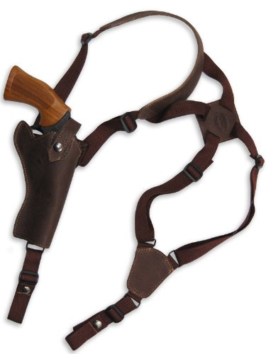 "New Barsony Brown Leather Cross Harness Vertical Shoulder Holster for 4"" 38 357 44 Revolvers (S&W K&L 66 67 69 617, Left)"