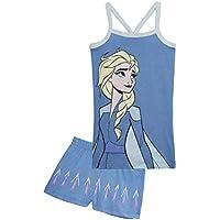 Disney Frozen Pijama Niña Verano, Ropa de Niña con Las Princesas Anna y Elsa, Conjuntos de 2 Piezas Camiseta y Pantalones Cortos Niña, Regalos para Niñas 2-6 Años (Azul Elsa, 5 años)