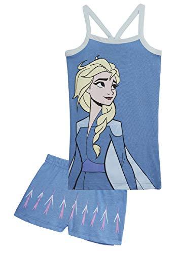Disney Frozen Pijama Niña Verano, Ropa de Niña con Las Princesas Anna y Elsa, Conjuntos de 2 Piezas Camiseta y Pantalones Cortos Niña, Regalos para Niñas 2-6 Años