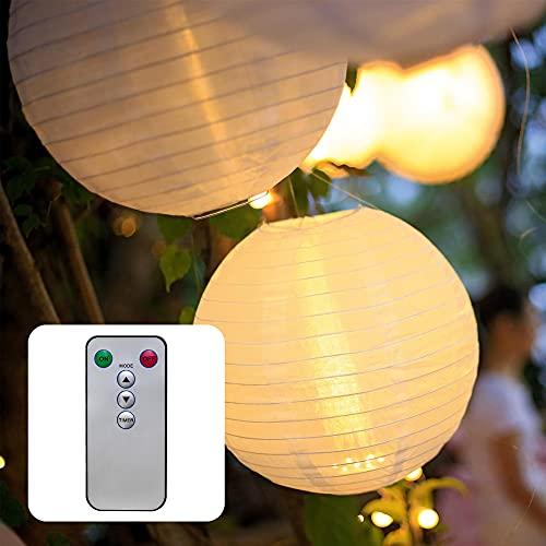 Hellum LED Lampion außen dimmbar Warmweiß LED Lampion mit Fernbedienung 3x30cm wetterfest Laterne Beleuchtung batteriebetrieben...