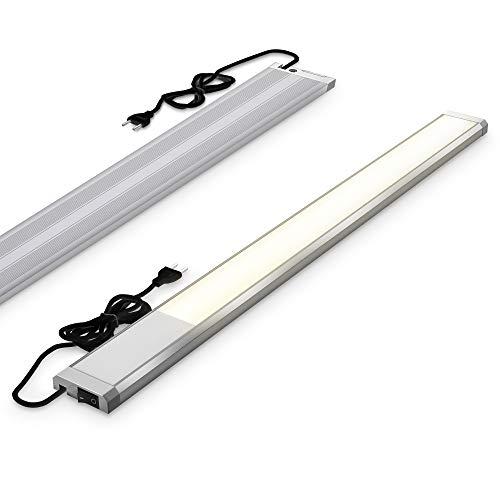 B.K.Licht I 10 W LED lámpara de debajo del gabinete I 1100 lumen I longitud: 57,5 cm I 3.000K color de luz blanco cálido I IP20 I lámpara de debajo del gabinete I lámpara de cocina I lámpara de taller