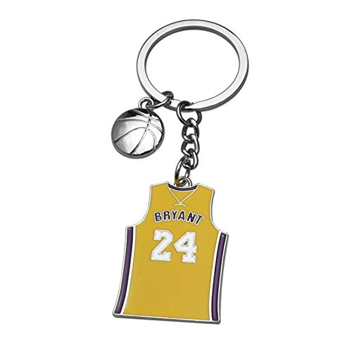 Earthily Memorial Gifts Personalised Women Man Favorite Basketball Star Kobe-Bryant Memorial 24 Uniforms Keychain Key Chains Ring Charm Keychains Keyring Gift (Color : Yellow, Size : 2pcs)