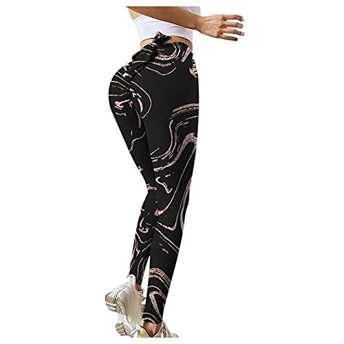 QTJY Medias sin Costuras de Cintura Alta, Pantalones de Yoga elásticos de Cintura Alta Impresos para Mujer, Pantalones Deportivos de Entrenamiento para Correr BS