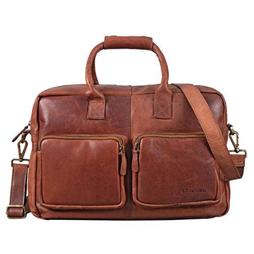 STILORD 'Henri' Bürotasche Leder 15,6 Zoll Vintage Laptop Aktentasche Businesstasche Umhängetasche Lehrertasche Büffelleder, Farbe:Cognac - braun