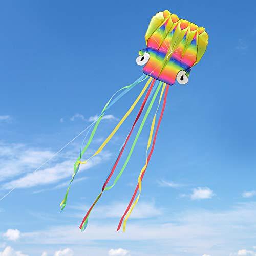 Kupton Drachen Flugdrachen Großen Octopus 5M Drachen mit Schönen Tails für Kinder und Erwachsene, Einfach zu Fliegen für Kinder Spiele für Draussen und Aktivitäten