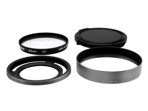 Photo Plus UV Filter/Lens Hood/Lens Cap for Fujifilm X30 X20 X10 Silver