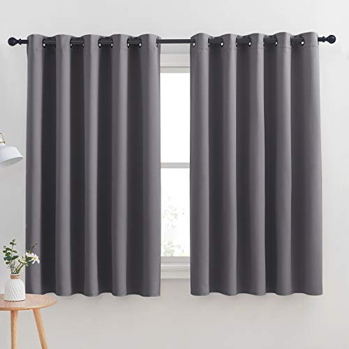 NICETOWN Grey Blackout Curtain Panels for Bedroom, Thermal Insulated Grommet Top Blackout Draperies and Drapes for Basement (2 Panels, W70 x L63-inch, Grey)