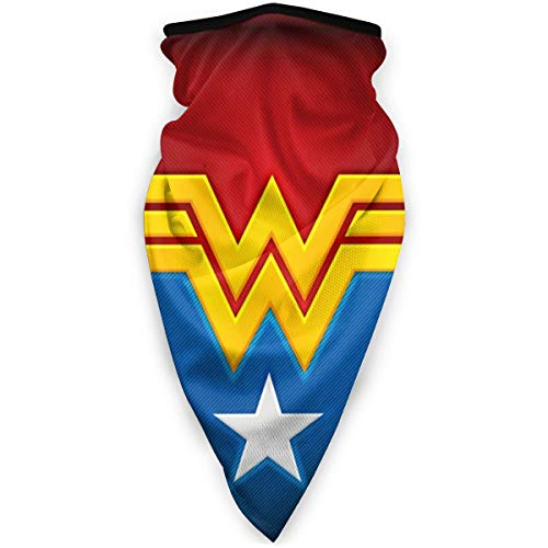 Won-der Woman Logo Stars Seamless Bandanas Neck Gaiter Tube Mask Headwear,Sport Face Mask for Women Men Face Scarf