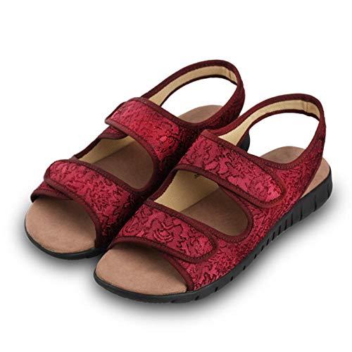 Cxypeng Diabetiker und Hallux Valgus,rutschfeste Sandalen mit weichem Boden für ältere Menschen, Oma-Schuhe mit flachem Boden-38_red,Unisex Erwachsene Gesundheits Schuh
