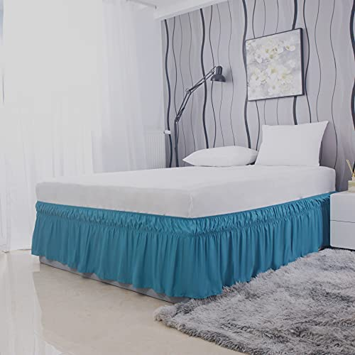 AYASW Wrap Around Bed Skirts 15 Inch Drop with Elastic No Top Cover Dust Ruffles Queen-King Size Teal
