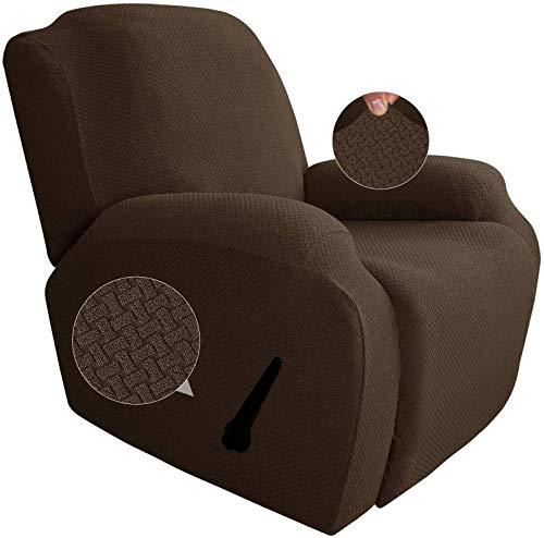JHLD Funda De Sillón Relax 4Piezas, Funda De Sillón Relax Elástica Suave Tela Asargada Jacquard Material Lavables Protector De Muebles para Sala-Café Profundo-Sillón reclinable