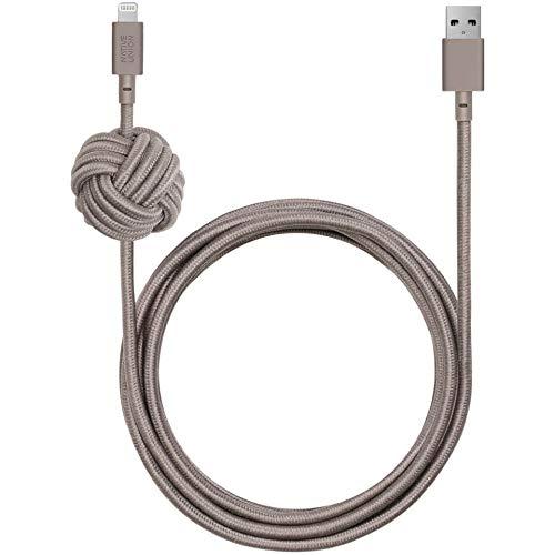 Native Union Night Cable - Cable de Nudos, 3 m, Color Gris