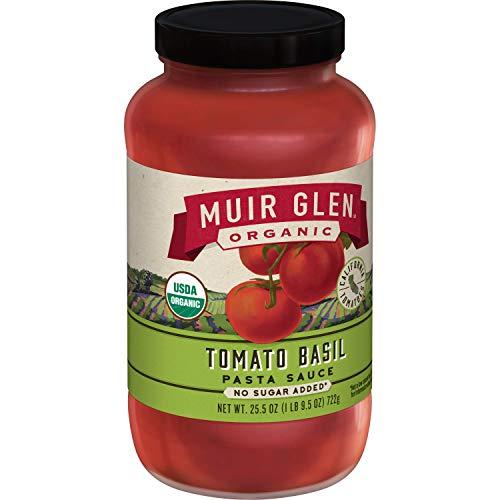 Muir Glen Organic Pasta Sauce, Tomato Basil, No Sugar Added, 25.5 Ounce Glass Jar (Pack of 6)
