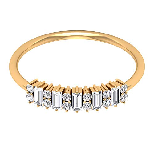 Classic Eternity Ring, 1.40 MM Round Shaped HI-SI Diamond, 1.5X3 MM Baguette Shaped Diamonds, Unique Bridal Jewelry Collection, Proposal Ring for Her, 18K Yellow Gold, Size:UK Z+1