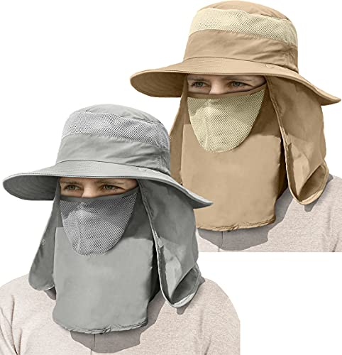 2-Pack Mens Outdoor Sun Hat UV Protection with Face Mask Neck Flap Wide...