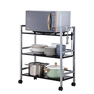 SINGAYE 3-Tier Kitchen shelf shelving unitStorage Cart with Wheels, Rolling Cart Multifunction Utility Cart on square tube,55 lbs Weight Capacity, Silver