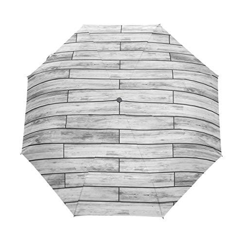 SUHETI Regenschirm Taschenschirm,Rustikaler Parkett Holz Retro Druck,Auf Zu Automatik,windsicher,stabil