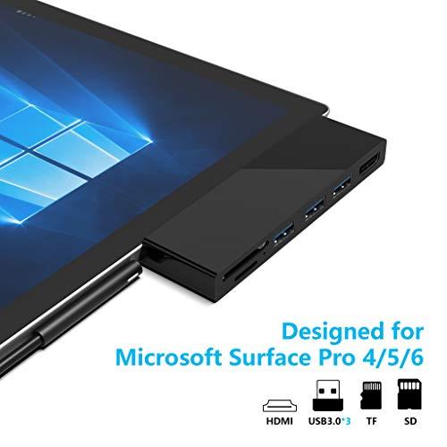 Microsoft Surface Pro 5/6 USB 3.0 Hub Docking Station Rytaki Surface Pro 5/6 USB Hub mit 4K HDMI, 3 x USB 3.0-Ports, SD/Micro-SD-Kartenleser für die Surface Pro 5/6 【Verbesserte Version】