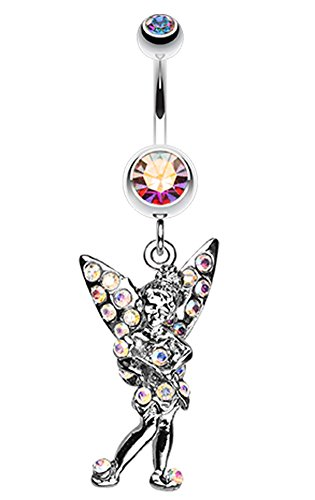 Tinker Bell Sparkle Belly Button Ring - 14 GA (1.6mm) - Aurora Borealis - Sold Individually