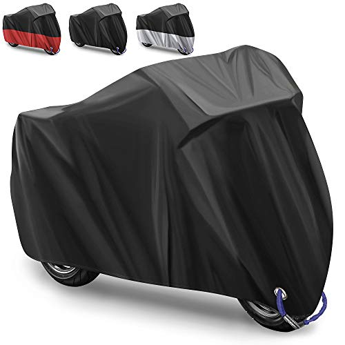 Motorcycle Cover Motorbike Cover Bicycle Cover 2 lock-holes,210D Oxford Fabric outdoor motorcycle cover protection against rain, snow, sun or dust Protective Cover +Carry Bag/ 245x105x125 cm- (Black)