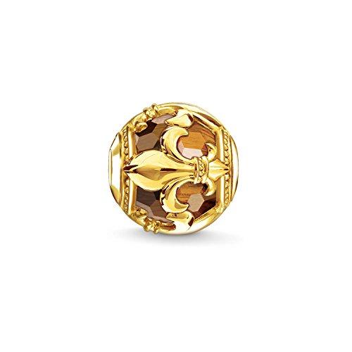 Thomas Sabo Damen Herren-Bead Lilie Karma Beads 925 Sterling Silber 750 gelbgold vergoldet Tigerauge braun K0235-887-2