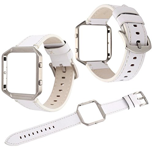 Qianyou Kompatibel mit Fitbit Blaze Armband mit Metallrahmen, Premium Vintage Lederarmband Ersatz Uhrenarmband mit Rahmen Sport Zubehor Kompatibel mit Fitbit Blaze, Weiß