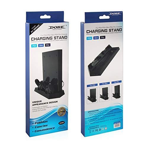 Ventilateur de Refroidissement PS4 et PS4 Slim, Support Vertical pour PS4 et PS4 Slim, Ventilateur avec 3 Ports de Chargeur USB et HUB, Station de Charge pour contrôleur PS4.