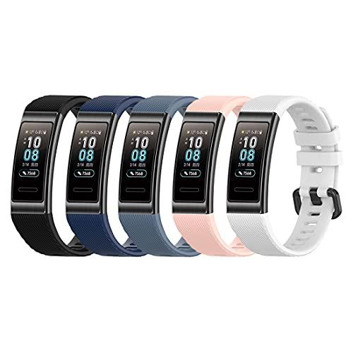 Bexido Correa compatible con Huawei Band 4 Pro/Huawei Band 3 Pro/Huawei Band 3, (5 piezas) de silicona suave pulsera deportiva pulsera de repuesto para Huawei Band 4 Pro/Band 3 Pro/Band 3 Pro/Band 3
