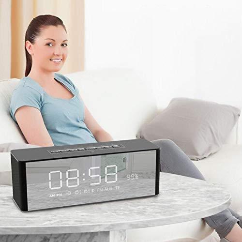 QJIAXING Bluetooth-Lautsprecher Digitalwecker mit LED-Anzeige HD-Bass
